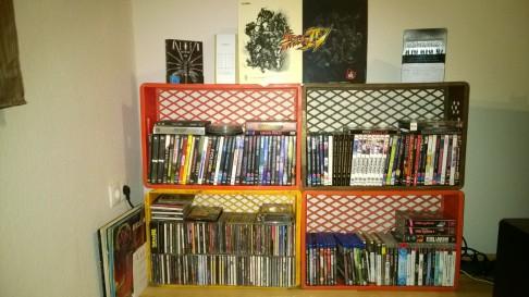 CD/ DVD-Regal aus Gitterkisten
